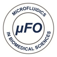 """Two concentric circles with 𝜇FO written in the middle and """"Microfluidics in Biomedical Sciences"""" written around the outside"""