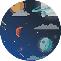 The word MedLaunch with a cartoon-style backdrop of space with planets and a spaceship with a red cross.