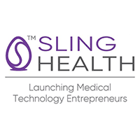 """A purple egg with an S on it next to the words """"Sling Health: Launching Medical Technology Entrepreneurs"""""""